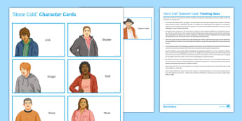 'Stone Cold' Character Cards Pack - Stone Cold, Link, Shelter, robert Swindells, homeless