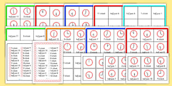 Half Past and O Clock Time Bingo - Time bingo, time game, Time resource, Time vocaulary, clock face, Oclock, half past, quarter past, quarter to, shapes spaces measures