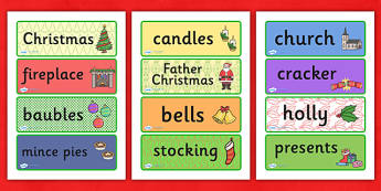 Decorative Christmas Word Cards - christmas, xmas, word cards