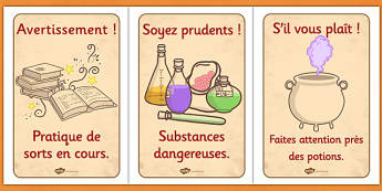Wizard and Witches Workshop Role Play Safety Signs French - francais, display