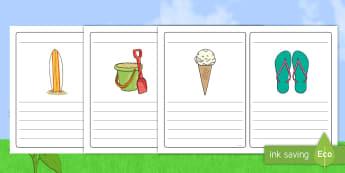 Summer Simple Sentence Writing Frames - summer, pictures, writing frames. simple sentence, sentences,