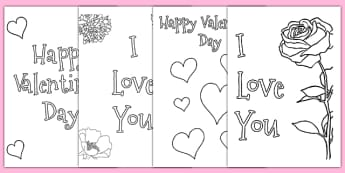 Valentine's Day Card Colouring Templates - Valentine's Day, Valentine, love, Saint Valentine, heart, kiss, colouring, fine motor skills, poster, worksheet, vines, A4, display,  cupid, gift, roses, card, flowers, date, letter, girlfriend, boyfriend, p