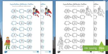 Superhelden Addition fehlende Zahlen Arbeitsblätter - Addition, Superhelden, addieren, plus, plus rechnen, +, Zahlenkette, fehlende Zahlen, ausrechnen,Ger