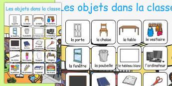 Les objets dans la classe Vocabulary Poster French - french, classroom objects, vocabulary, poster, display