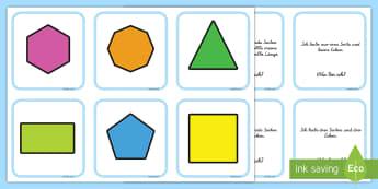 2D Formen Memorykarten - Memory, Geometrie, Figuren, Flächen, Seiten, Ecken, zuordnen, Spiel,,German