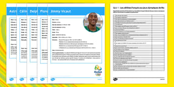 French Olympic Athletes Quiz 1 Activity Sheet - French, worksheet