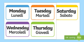 Days of the Week Flashcards English/Italian - Days of the Week Flashcards - days, week, flashcards, cards, days of the wek, days pf the week, days