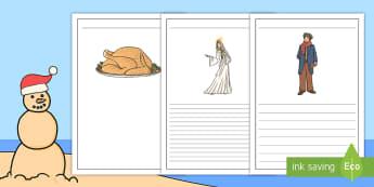 A Christmas Carol Writing Frames English/Afrikaans - December, creative, Jesus, story, celebrate, EAL