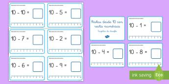 Tarjetas de desafío: Restas desde 10 con recta numérica - recta numérica, desafío, tarjetas, restar, restas, sustracción, mates, matemáticas, operaciones,