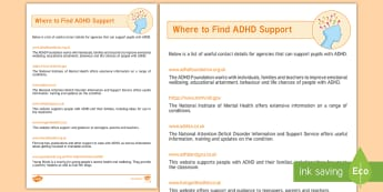 ADHD Support Directory Adult Guidance - ADHD, SENCo, Directory, Support, Agencies