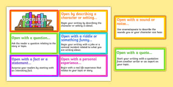 Writing Openers Idea Cards - opener, opener ideas, literacy, cards