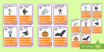 Halloween Game Character Cards Pack English/Hindi - Characters, top card game, playing cards, games, activities, classroom games, EAL, Hindi