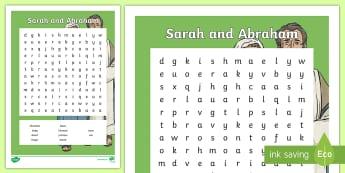 Sarah, Abraham and Ishmael Word Search - Northern Ireland Curriculum RE Reconciliation Sarah Abraham Isaac Hagar Ishmael Slave