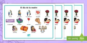 Mother's Day Word Mat - Spanish - Spanish, KS2, vocabulary, mother's, day, word, mat, festivities, dia del la madre