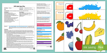 A Shopping Basket of Colour Adult Input Plan and Resource Pack - shops, food, fruit, vegetable, colour, colour mixing, paint, print, expressive arts and Design, medi