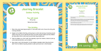 Journey Bracelet Outdoor Activity - EYFS Parks and Gardens, playgrounds, forest school, outdoor learning, outdoor classroom, outside, wo