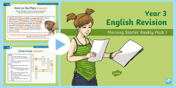 Year 3 English Revision Morning Starter Weekly PowerPoint Pack 1 - KS2 English Assessment Materials, KS2, assess, review, moderate, track, english, literacy, reading,