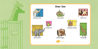 Word Mat (Images) to Support Teaching on Dear Zoo - cher zoo, Dear Zoo, Rod Campbell story, zoo, zoo animals, adjectives, descriptive words, lion, monkey, puppy, giraffe, story book, story book resources, story sequencing, story resources, zoo, anima