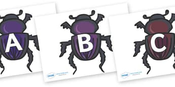 A-Z Alphabet on Egyptian Beetles (Scarab) - A-Z, A4, display, Alphabet frieze, Display letters, Letter posters, A-Z letters, Alphabet flashcards