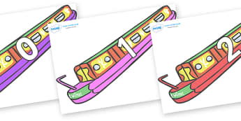 Numbers 0-50 on Narrow Boats - 0-50, foundation stage numeracy, Number recognition, Number flashcards, counting, number frieze, Display numbers, number posters