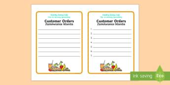 Healthy Eating Cafe Role Play Order Forms English/Polish - caf, food, drink, fruit, vegetables, vegetable, health,Polish-translation