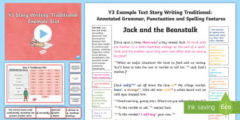 Y3 Story Writing: Traditional Model/ Example Text - traditional tales, Jack and the Beanstalk, fairy tales, story, writing, features, reading,