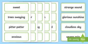Setting Describing Word Cards - visual aid, writing aid, keywords