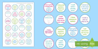 NI Thinking Skills and Personal Capabilities Managing Information Stickers - Comments, Targets, Curriculum, Marking, Statements, Northern Ireland