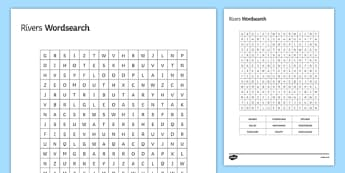 Raging Rivers Word Search