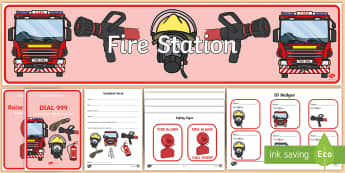 Fire Station Role Play - Fire station Role Play, fire station, fire station resources, fire service, fire fighter, fire man, fire engine, people who help us, emergency, fire hose, fireman's pole, helmet, siren, fire, role play, display, poster,