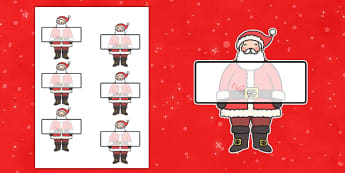 Editable Self Registration Labels (Santa) - Christmas, xmas, Santa, Self registration, register, editable, labels, registration, child name label, printable labels, tree, advent, nativity, santa, father christmas, Jesus, tree, stocking, present, acti