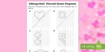 Adlewyrchiad Diwrnod Santes Dwynwen Taflen Weithgaredd - santes, dwynwen, Ionawr, mathemateg, adlewyrchiad, cymesuredd, Welsh, dydd , ddydd, ddiwrnod