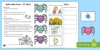 Spider Splat Bl Blends Game - Phonics, Digraphs, Sounding out, Blending, Station teaching,Irish