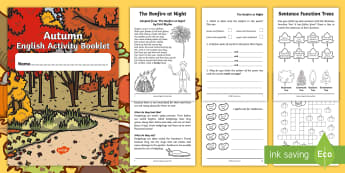 Year 2 Autumn English Activity Booklet - Seasons, Spelling, Grammar, Punctuation, Comprehension