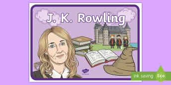 J K Rowling A4 Display Poster - J K Rowling A4 Display Poster - j k rowling, harry potter, magic, wizards, hogwarts, hermione grange