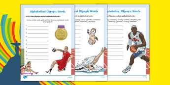 Olympics Alphabet Ordering Activity Sheet, worksheet