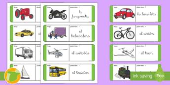 Tarjetas de emparejar: El transporte - transporte, coche, camión, avión, globo aerostático, autobús, moto, motocicleta, vía, carretera
