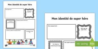 Feuille d'activités : Les super héros  - créativité, écriture, transition, rentrée des classes, apprendre à se connaître,French