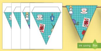 Alice in Wonderland Display Bunting - work, creative, reading, fun, lewis carroll, literature