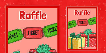 Christmas Themed Raffle Poster - christmas fair, display poster, display, poster, raffle