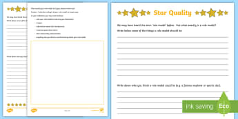 Star Quality Activity Sheet - PDMU,Razzle Dazzle,Celebrating Myself,Year 7, worksheet,