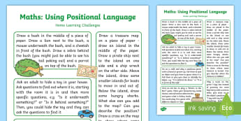 EYFS Uses Positional Language Home Learning Challenges - EYFS Uses Positional Language, 30-50 months, Early Years, EYFS Planning,  SSM, Space Shape Measure,