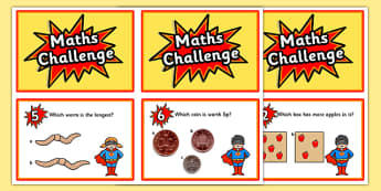 Reception Maths Challenge Cards - challenge cards, cards, reception, early years, early years maths challenge, numeracy, numeracy challenge, numeracy challenge cards, challenge game, superheroes, superheroes numeracy challenge