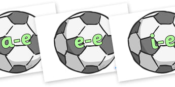 Modifying E Letters on Footballs - Modifying E, letters, modify, Phase 5, Phase five, alternative spellings for phonemes, DfES letters and Sounds