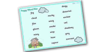 Weather and Seasons Foggy Word Mat - weather and seasons, foggy word mat, foggy, weather and seasons word mat, foggy words, weather word mat, weather