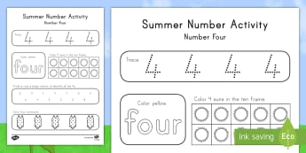 Summer Number Four Activity Sheet - Summer, summer season, first day of summer, summer vacation, summertime, number recognition, number