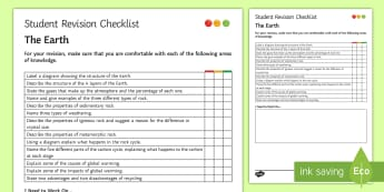 The Earth Student Revision Checklist - Student Progress Sheet (KS3), the earth, core, mantle, sedimentary, igneous