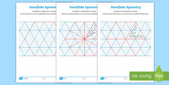 UKS2 Snowflake Symmetry Differentiated Activity Sheets - Snowflakes, UKS2, Year 5, Y5, Year 6, Y6, reflective symmetry, hexagon, hexagons, hexagonal, maths