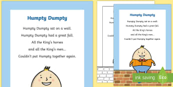 Humpty Dumpty Nursery Rhyme Poster - rhymes, display, poems, song