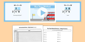 Formal Division 2 Digit Numbers Bus Stop Method Pack - formal division, 2 digit, numbers, bus stop, method, pack